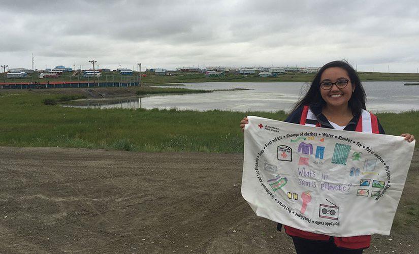 American-Red-Cross-volunteer-with-pillowcase-in-Alaska_BLUR