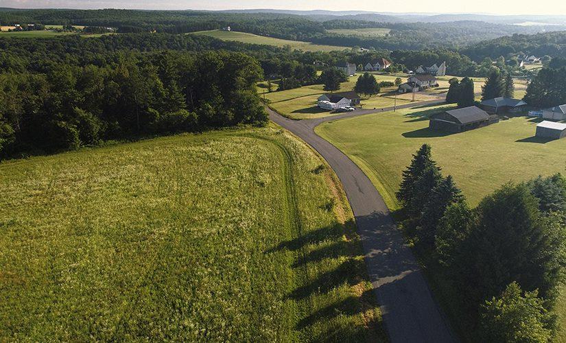 An aerial view of Poconos, Monroe County, Pennsylvania, USA.