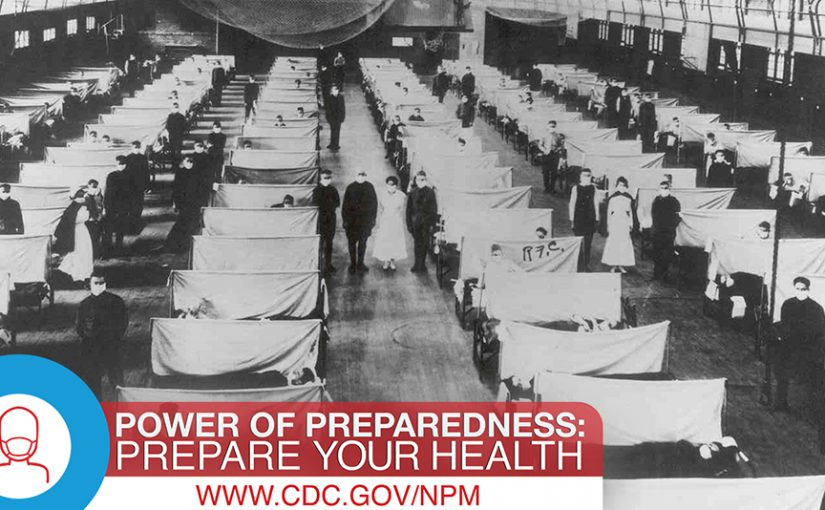 Period photo of a flu patients during the 1918 influenza pandemic.
