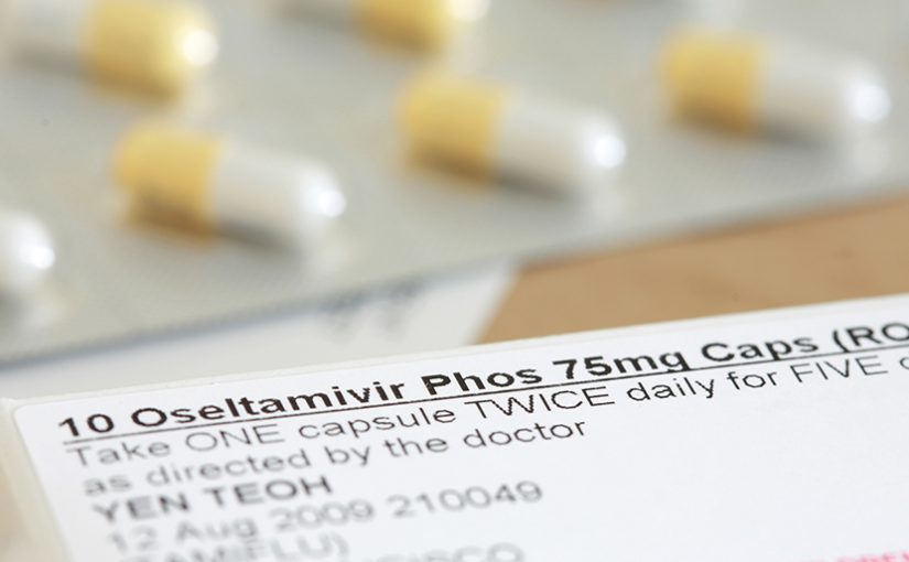 Package of Oseltamivir (i.e., Tamiflu) capsules.