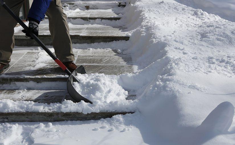 A person shoveling snow