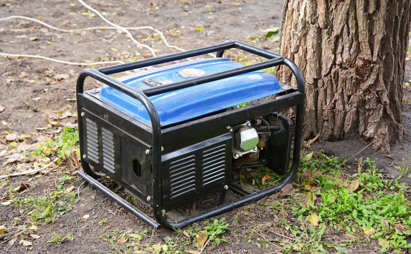 A portable generator placed outside and in a dry area on the ground.