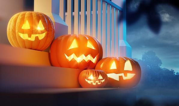 pumpkins on steps