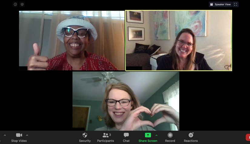 A picture-in-picture of women on a video conference.
