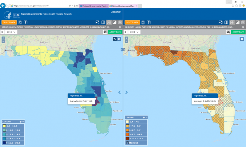 The split screen view of Tracking's Data Explorer shows maps of two different data types at the same time, making visual comparison very simple.