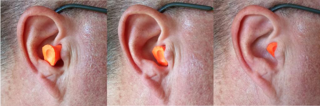 Figure 2: Badly-inserted earplug, semi-inserted earplug, and properly-inserted earplug