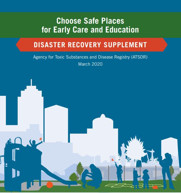 Cover image for the CSPECE Disaster Recovery Supplement that shows children and adults in a playground.