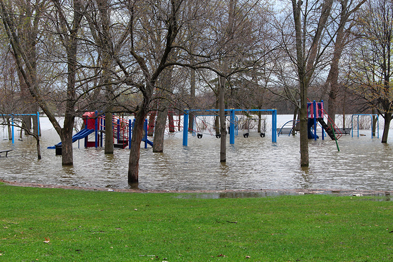 A flooded playground.