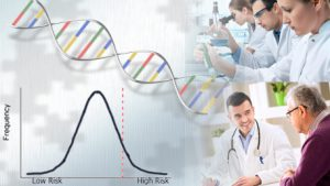 a polygenetic risk score bell curve and DNA, lab techinicians working in a lab and a doctor talking to his patient