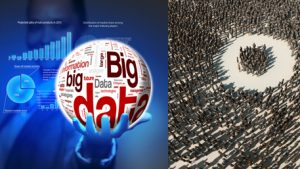 a big data word globe held by a person and a crowd of people with a small group being focused on