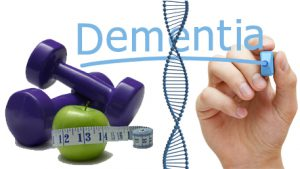 a hand writing Dementia with bar bells and an apple wrapped in a measuring tape and DNA