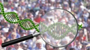 a maginfying glass with DNA looking at a crowd