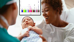 a woman and doctor looking at a newborn with a Manhatten plot on the background