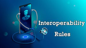 Interoperability Rules with a stethoscope holding a cell phone