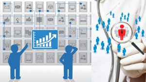 twp figures looking at a wall of graphs depicting predicive analytics, a doctor with a stethoscope that has a magifying glass on a red figure surrounded by lots of other clusters of figures