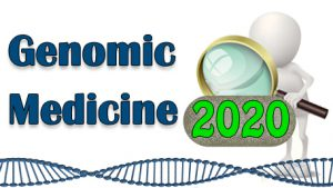 Genomic Medicine - af figure looking at 2020 with a magnifying glass and a double helix