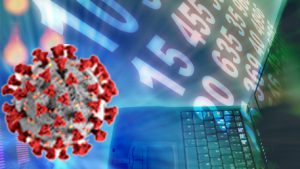a COVID-19 virus floating around with digital bites coming out of a laptop