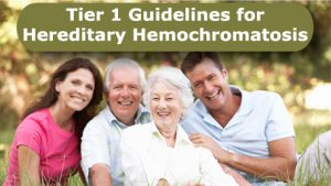 Tier 1 Guidelines for Hereditary Hemochromatosis with a photo of a family with adult children