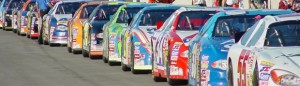 stock cars all in a row