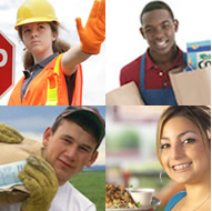 collage of four young workers performing tasks