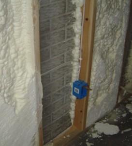 walls insulated with spray polyurethane foam