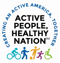 Creating an active american, together. Active people, healthy nation. graphics of people bicycling, walking, kicking a ball, and in a wheelchair