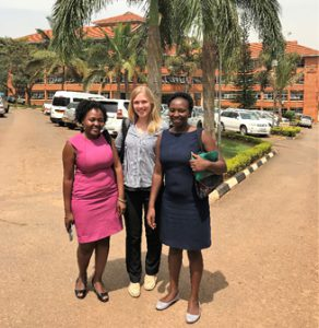 Working with FETP colleagues at the Uganda Ministry of Health. Left to right: Joyce Nguna, Rebecca Casey and Doreen Birungi