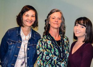 L to R: Oral Historian Hana Crawford, Project Manager Mary Hilpertshauser, Archivist Laura Frizzell
