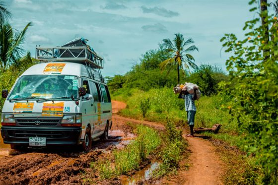A typical mobile vehicle fitted with PA system in one of the villages in Pangani District, Tanga Region.