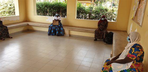 Social distancing in the waiting area at Nyasho clinic.