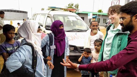 Rachael Zacks interviewing community health workers in Rohingya camp.