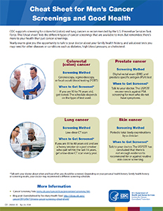 Printable Cheat Sheet for Men's Cancer Screenings and Good Health