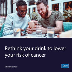 Friends sitting at a table drinking water. Rethink your drink to lower your risk of cancer.