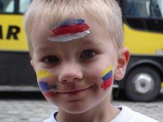 Mason with his face painted