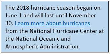 The 2018 hurricane season began on June 1 and will last until November 30. Learn more about hurricanes from the National Hurricane Center at the National Oceanic and Atmospheric Administration.