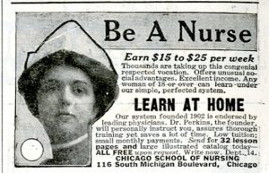 A black-and-white advertisement for the Chicago School of Nursing.