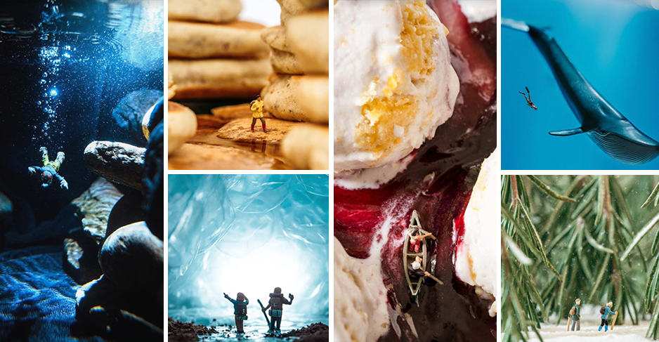 A collage of staged photos created by several Instagram users. The photos use toys and food to recreate scenes in nature.