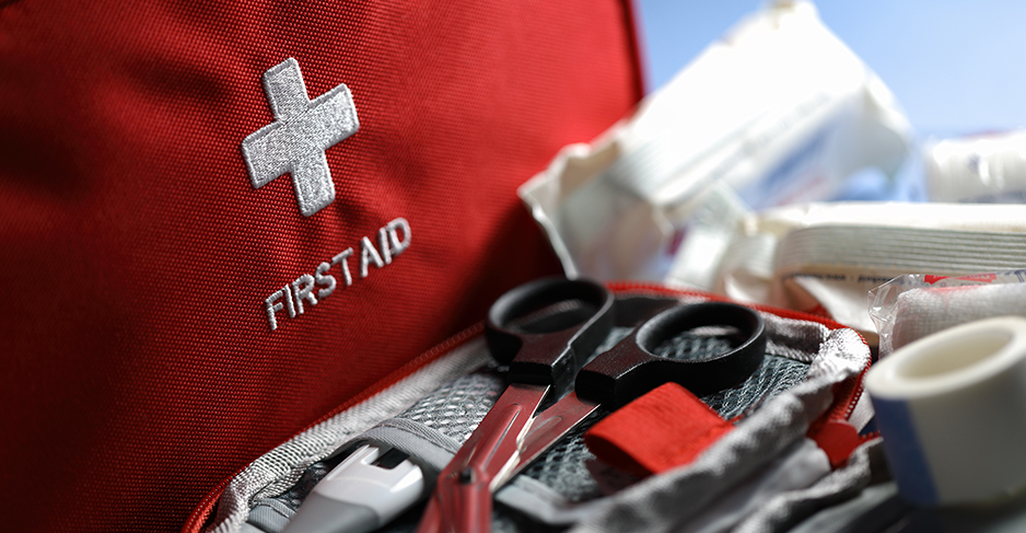 A first-aid kit and supplies.