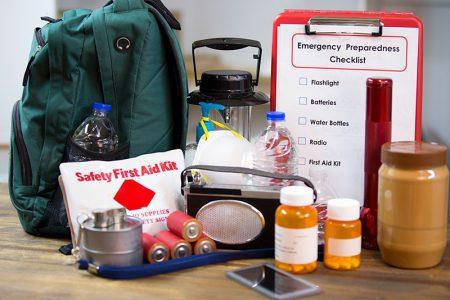 Emergency preparedness checklist and emergency supply kit.