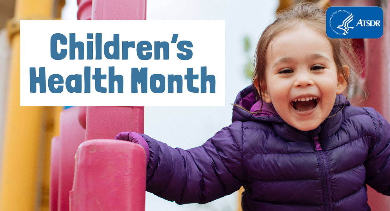 A young girl at the playground slide smiling, with the title Children's Health Month written across the image.